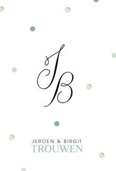 Clean en romantische trouwkaart met jullie initialen in sierlijke letters.