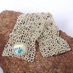Beadwoven wide cuff bracelet. Melange silver bracelet. by Renarta