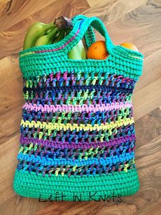 Open-Air Market Bag -- love this colorful crocheted reusable shopping bag... It could be used for so many purposes!