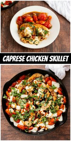 Caprese Chicken Skillet recipe from RecipeGirl.com #caprese #chicken #skillet #recipe #RecipeBoy One Pan Dinner Recipes, Quick Shrimp Recipes, Chicken Skillet Recipes, Easy Delicious Recipes, Chef Recipes, Healthy Recipes, Easy Recipes, Quick Guacamole Recipe, Caprese Chicken