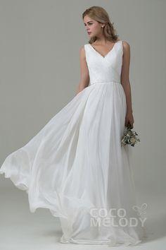 Pretty Sheath-Column V-Neck Natural Train Chiffon Ivory Sleeveless Zipper Wedding Dress CWZT15004 #weddingdress #weddingdress2016 #cocomelody