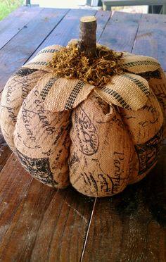 Burlap Jute Organic Pumpkin by LeFrenchLaundry on Etsy, $35.00