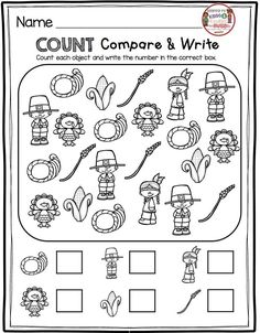 THANKSGIVING math - count and write numbers the turkey - pilgrim - native - wheat and more - November and Thanksgiving vocabulary - free resources and activities - print free worksheets and printables - reading and math for primary grades Thanksgiving Math Worksheets, Thanksgiving Activities For Kindergarten, Fall Preschool, Kindergarten Math Worksheets, Free Worksheets, Kindergarten Crafts, Halloween Worksheets, Homeschool Kindergarten, Math Activities