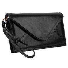 Yahoho Damen echtes Leder Envelope Style Structure Purse Clutch Geldbörse mit Wrist Riemen (Geschenk Verpackung) Black