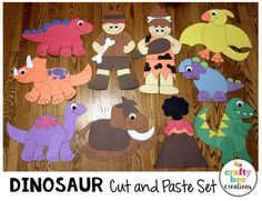 Dinosaur Cut and Paste Set that includes patterns and directions to make 10 crafts. Just download, copy, print, and glue! A great addition to a dinosaur unit. Make great decor and bulletin board.