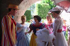 Disney princess meet Bert and Mary Poppins at Disneyland