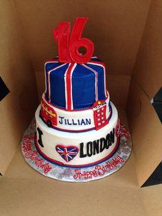 London, England themed birthday cake