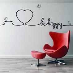 Vinilo sticker decorativo BE HAPPY --> Exclusivo en www.viniloscasa.com