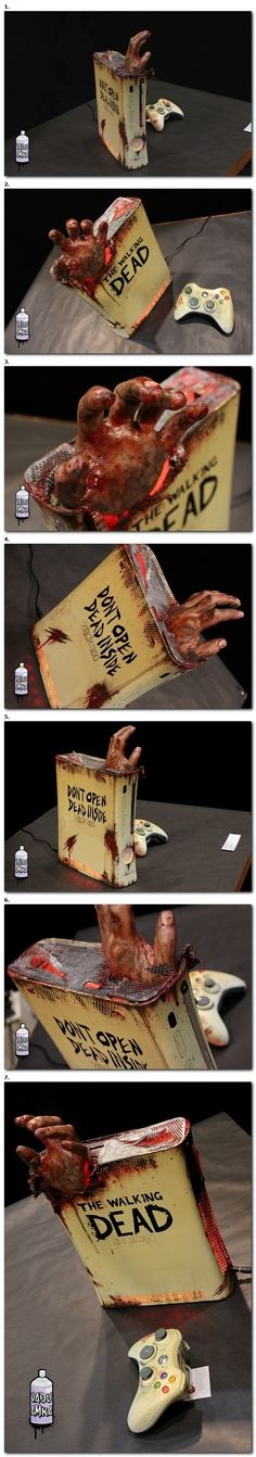 Walking Dead themed Xbox 360.  Really cool, but the hand is over the top.