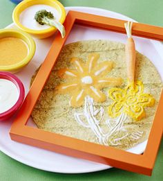 Veggie Paints with Broccoli and Carrot Brushes This low-calorie snack recipe is meant to be played with! Cut the vegetables to resemble paintbrushes and give each guest a flour tortilla. Encourage the kids to paint on their tortilla using the vegetables as brushes and dips as paints.