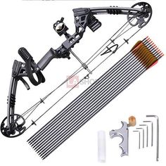 Archery Right Hand Compound Bow Set w/ 12 Carbon Arrows Color Opt
