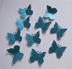 10 Large Blue Glitter  Butterflies-Punch Die Cut Wall Embellishments. Ah, a dose of microglitter bling!