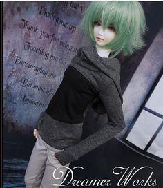 """1/4 7-8""""  BJD.SD MSD Doll GRAY BLACK long sleeve shirt FOR MAN BOY CLOTHES"""