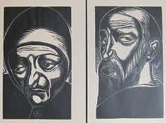 Jan-Frans Cantré (1886-1931), Diptiek: Oude Boer en Oude boerin, 1926
