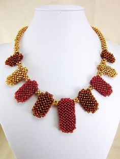 Statement Necklace, Beadweaving, Egyptian, Cubic Right Angle Weave