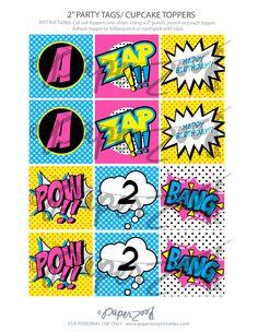Descarga inmediata niña superhéroe rosa por PaperZooPrintables