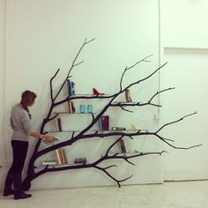 Tree branch shelf- how would this look over the forest wallpaper mural background? Add to the 3 dimensional look? Too much?
