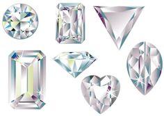 Vector illustration of different cut diamonds