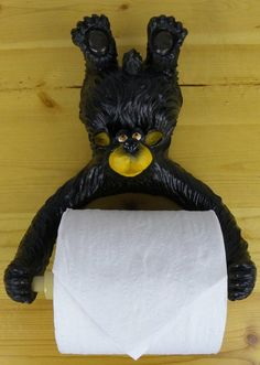 This Hanging Bear Toilet Paper Holder is a cute and humorous piece of functional Decor for your cabin bathroom Unique Toilet Paper Holder, Cabin, Bear, Cute, Cabins, Kawaii, Bears, Cottage, Wooden Houses
