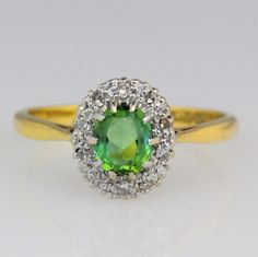 VINTAGE 18CT GOLD TOURMALINE AND DIAMOND RING #Cluster #Engagement