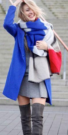 Colour Block Oversized Scarf , Cobalt Blue Coat !