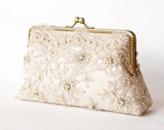Alencon Lace Silk Gold Purse / wedding bag / bridesmaid clutch