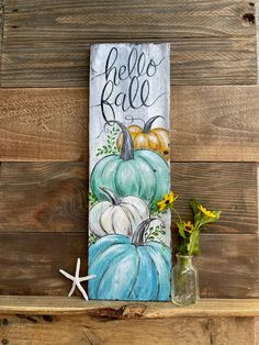 Fall Canvas Painting, Autumn Painting, Autumn Art, Autumn Home, Painting Art, Blue Pumpkin, Pumpkin Art, Fall Wood Signs, Fall Signs