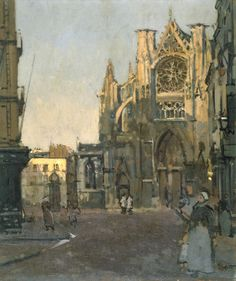 Walter Richard Sickert, 'Dieppe, Study Façade of St Jacques' (The Camden Town Group in Context) French Impressionist Painters, Impressionist Artists, Tate Gallery, Artist Gallery, Walter Sickert, Camden Town, Art Uk, Exterior Paint, Beautiful Paintings