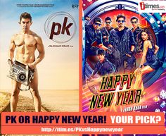 Two of the most awaited #bollywood movies will lock horns this Diwali. Which one you would go for - #PK or #HappyNewYear? Vote.