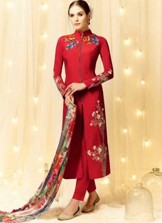 Radiant Red Embroidery Work Cotton Satin Pakistani Suit #Suits #Salwar http://www.angelnx.com/Salwar-Kameez