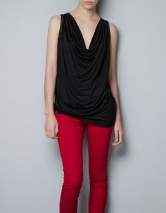 DRAPED T-SHIRT WITH CHAINS - T-shirts - Woman - ZARA United States