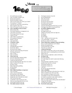 1000 quick writing ideas For when you have no ideas at all....