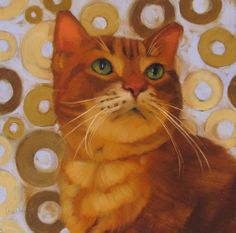 """Saint Sienna"" an original oil painting of an orange cat by Diane Hoeptner, sold"