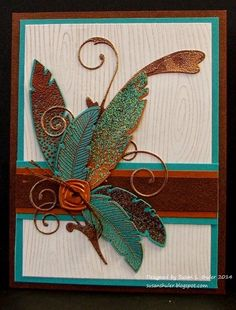 handmade card from Behind the Scenes - Straits Stamping Studio: Verdigris, Copper, Feathers and Flourish . heat embossing and die cuts . Making Greeting Cards, Greeting Cards Handmade, Paper Cards, Diy Cards, Feather Cards, Fall Cards, Card Making Inspiration, Masculine Cards, Creative Cards