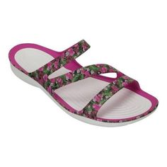 ac0dac967574 Women s Crocs Swiftwater Graphic Slide Sandal  Floral Slide Sandals