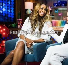 "Cynthia Bailey's ""Watch What Happens Live"" White Puff Sleeve Dress"