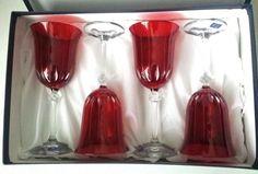 Red Wine Water Glasses Gioielli da Tavola Cristal 4 Pcs Italian Crystal Glass #GioiellidaTavolaCristal