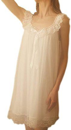 d5d2c9b5cc Singingqueen Women s Sleepwear Lace Nightdress Victorian Vintage Nightgown  Loungewear Pajamas (White
