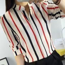 Mulheres Chiffon blusas meia manga mulheres camisas de Chiffon listrado carreira Tops camisa Blusa feminina J4153(China (Mainland))