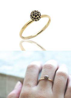 Black Diamond Engagement Ring 14k gold  Black by LeybmanJewelry