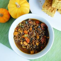 Healthy, hearty lentil and sweet potato chili.