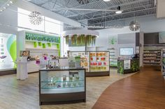 Avril Supermarche Sante flagship store by TUXEDO Granby Canada ~ Avril is known for its selection of eclectic natural foods, its extensive selection of trend-setting natural food products, and its modern environmentally-friendly store design.