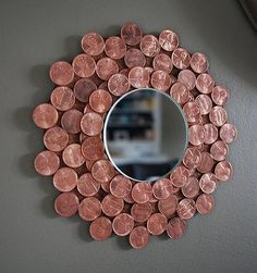 penny starburst mirror, crafts, repurposing upcycling, wall decor