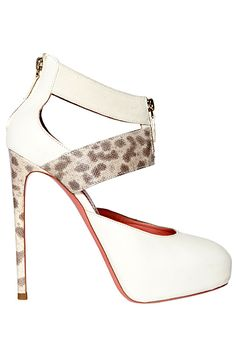 Blumarine White Ankle Strap Pumps with  Animal Print Heels 2014 Fall-Winter #Shoe #Blumarine #Heels