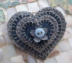 Sweet. Heart! - stacked scraps of blue jean material w/blanket stitch edging and baby button to tack together