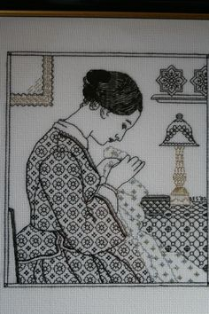 Redwork Embroidery The Embroideress - Holbein Embroideries Blackwork Kit Blackwork Cross Stitch, Blackwork Embroidery, Folk Embroidery, Vintage Embroidery, Cross Stitching, Cross Stitch Embroidery, Embroidery Patterns, Stitch Patterns, Blackwork Patterns