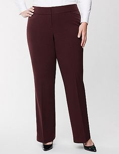 Our Lena fit loves your curves with a tailored stretch so you always look put together. The classic leg design and draping fabric makes this pant your wardrobe essential, with a bit of stretch for curve-hugging comfort. Flattering wide waistband and front pockets complete the look. Double bar & slide and zip fly closure.� Available in Petite and Tall. lanebryant.com