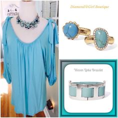 ☀️Summer Sale☀️ Turquoise  beaded cold shoulder This gorgeous tunic is in soft rayon/spandex and features sexy cold shoulders with tie detail at top, beautiful tiny beading around neck and armholes 3:4 dolman sleeves. Rings and bracelet also available, bundle and save Joyous & Free Tops Tunics