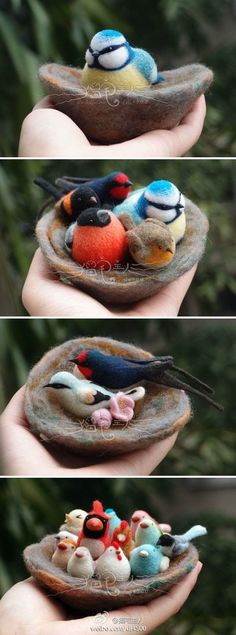 Beautiful needle felting - one Pinner said.I made this with fimo and put it in my garden- few months later the birds were on the ground and birds had made their home in it! Wet Felting Projects, Felting Tutorials, Needle Felted Animals, Felt Animals, Nuno Felting, Needle Felting, Felt Birds, Felt Diy, Felt Hearts