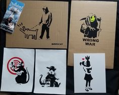 5 piece set of BANKSY signed numbered Dismaland Original Free Art Souvenirs